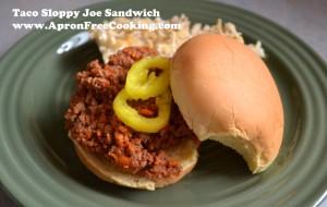 Taco Sloppy Joe Sandwich from www.ApronFreeCooking.com